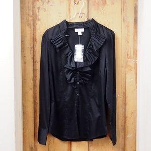 Ann Taylor LOFT NWT Dressy Black Blouse SZ 10